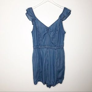 American Eagle | Blue Chambray Romper Size XL